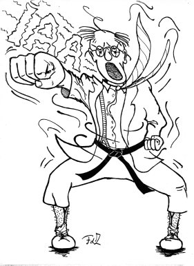 Karate Joe, Horse Stance front, drawing Frank de Zanger
