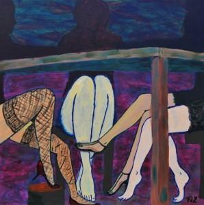 'Bekijk het eens van de andere kant', schilderij Frank de Zanger, Nieuwjaarsexpositie Vereniging Artishock, januari 2018