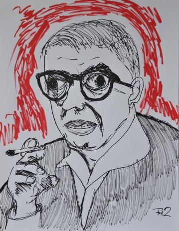 Portret van Sartre door Frank de Zanger