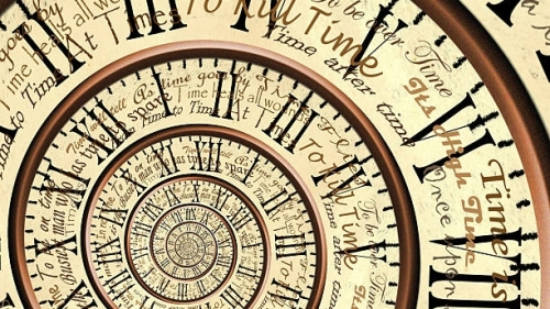 An eternal clock with proverbs about time.